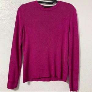 ANN TAYLOR Fuschia 100% Silk Sweater